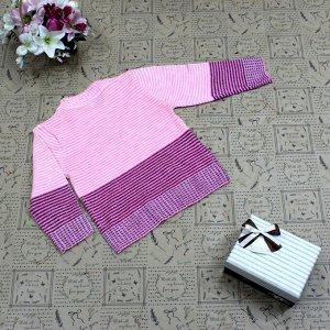 Рост 102-110. Стильная детская кофта Flase нежно-розового цвета с белыми переходами.