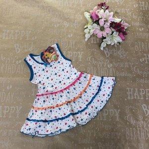 Рост 116 (детальные размеры в описании). Детское платьице Rina с ярким принтом и окантовкой василькового цвета.