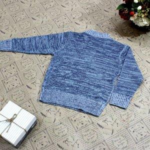 Рост 106-114. Стильная детская кофта Laserow серого цвета с голубым оттенком и белыми переходами.