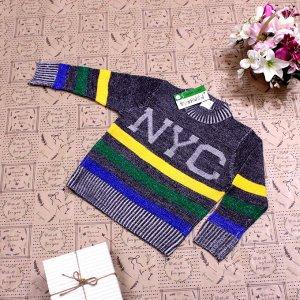 Рост 124-132. Стильная детская кофта NYC графитового цвета с белыми переходами.