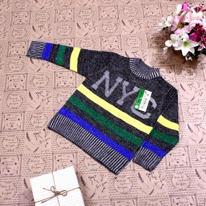 Рост 120-128. Стильная детская кофта NYC темно-травянистого цвета с белыми переходами.