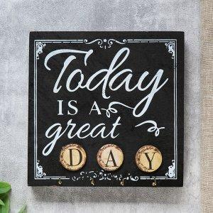 """Крючки декоративные дерево """"Сегодня великий день"""" 20х5х20 см"""