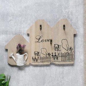 """Крючки декоративные дерево """"Лаванда в лейке"""" 18,5х30,5х3 см 4764217"""
