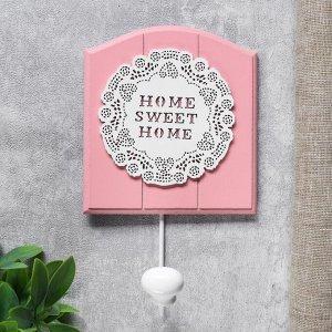 """Крючок декоративный дерево """"Цветочное кружево"""" розовый 21,5х5х13 см 4768111"""