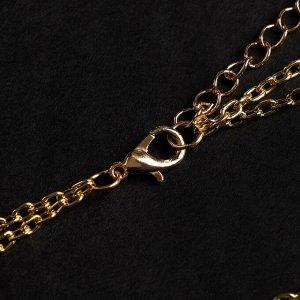 """Кулон с жемчугом """"Цепь"""" 2 нити, цвет белый в золоте, L=45 см F62936"""