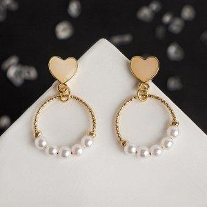 """Серьги с жемчугом """"Жасмин"""" кольца с сердцами, цвет белый в золоте"""