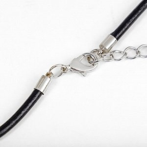 "Кулон на шнурке ""Лист вербены"", цвет чернёное серебро, 85см"
