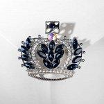 """Брошь """"Корона"""", цвет бело-синий в серебре 4787966"""