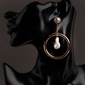 """Серьги с жемчугом """"Жасмин"""" кольцо с цепью, цвет белый в золоте"""