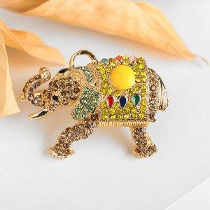 """Брошь-подвеска """"Слон"""" тайский, цветная в золотое"""