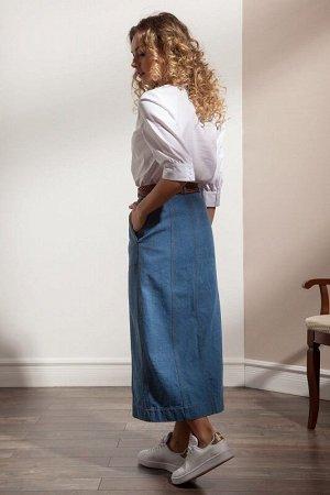 Юбка миди Состав: хлопок 99%, полиэстер 1% Рост: 170 см. Джинсовая юбка А-силуэта, длиной миди с центральной застежкой на декоративные пуговицы спереди и вертикальные рельефы с двойными отделочными ст