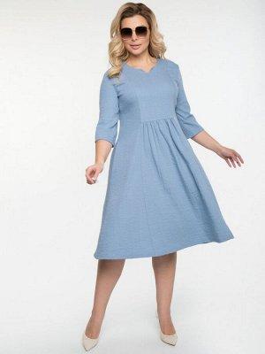 """Платье Платье полуприлегающего силуэта из однотонной плательной вискозы с эффектом """"крэш"""". - однотонная расцветка - фигурный вырез горловины на внутренней обтачке - втачные рукава длиной 3/4 - линия т"""