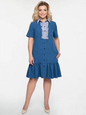 Платье Платье А-образного силуэта, выполнено из меланжевой плательно-костюмной ткани синего цвета. - горловина с отложным воротником на стойке - по центрупереда застежка на петли - пуговицы дополнена