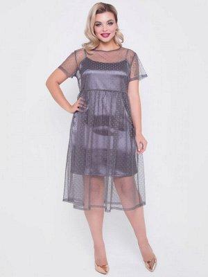 """Платья Эффектное платье свободного силуэта выполнено из полупрозрачной сетки с рисунком """"горох"""" и атласной комбинации на тонких бретелях. - однотонная расцветка - круглая горловина на тонкой бейке -"""