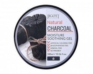Jigott» Natural Charcoal Moisture Soothing Gel Натуральный увлажняющий гель с экстрактом Угля, 300 гр.
