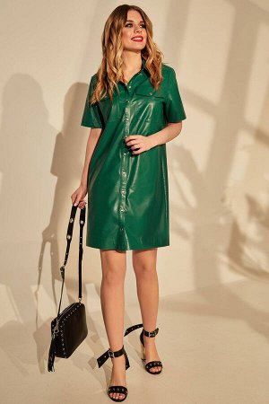 Платье Платье Golden Valley 4657 зеленое  Состав ткани: ПЭ-100%;  Рост: 170 см.  Платье с центральной застежкой на кнопки, втачным воротником с отрезной стойкой. По переду с накладными карманами с кл