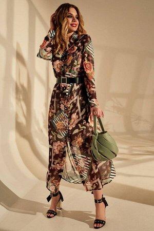 Платье Платье Golden Valley 4659 №2  Состав ткани: ПЭ-100%;  Рост: 170 см.  Платье с центральной застежкой на петли и пуговицы, втачным воротником с отрезной стойкой. По переду с клапанами. Спинка с