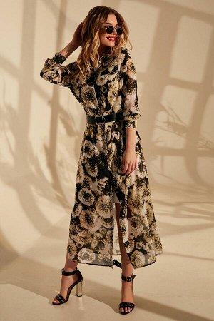 Платье Платье Golden Valley 4659 №3  Состав: ПЭ-100%; Сезон: Весна-Лето Рост: 170  Платье с центральной застежкой на петли и пуговицы, втачным воротником с отрезной стойкой. По переду с клапанами. Сп