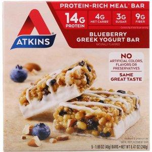 Atkins, Греческий йогуртовый батончик  с черникой 48 г