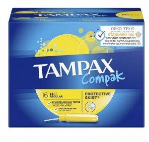 TAMPAX Compak Тампоны женские гигиенические с аппликатором Regular Duo 16шт ПрепакКороб