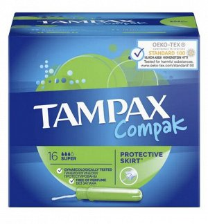 TAMPAX Compak Тампоны женские гигиенические с аппликатором Super Duo 16шт ПрепакКороб