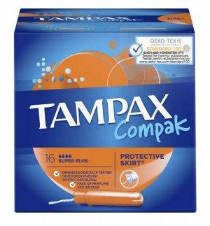 TAMPAX Compak Женские гигиенические тампоны с аппликатором Super Plus Duo 16шт ПрепакКороб