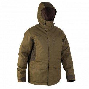 Теплая водонепроницаемая куртка муж. для охоты 500 цвета хаки SOLOGNAC