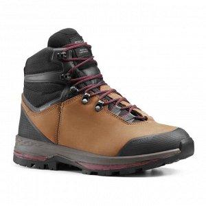 Ботинки кожаные для треккинга непромокаемые женские TREKKING 100