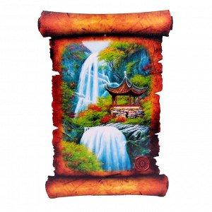 Картина объемная Пагода у водопада 42,5 х 29,5см ХДФ