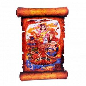 Картина объемная Семь богов счастья 42,5 х 29,5см ХДФ