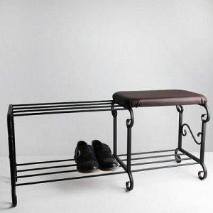 Подставка для обуви с сиденьем «Стандарт», 2 яруса, 90?32?40 см, цвет чёрный, форма МИКС