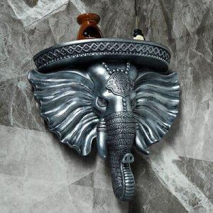 """Консоль """"Индийский Слон"""", состаренное серебро 40x 38 см"""