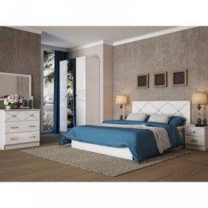 Кровать 1600 Севиль МДФ, Белый/Белый глянец