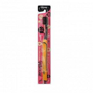 """Зубная щетка """"Dentione"""" со сверхтонкими щетинками  двойной высоты и ЭРГОНОМИЧНОЙ прорезиненной ручкой (с древесным углем и ионами серебра, средней жесткости) 1шт / 400"""