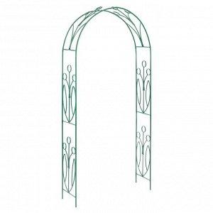 Арка садовая, разборная, 230 ? 125 ? 36.5 см, металл, зелёная, «Ландыш»