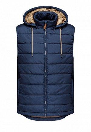 Утеплённый стёганый жилет для мужчины, цвет синий