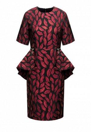 Платье со съемной баской, цвет алый