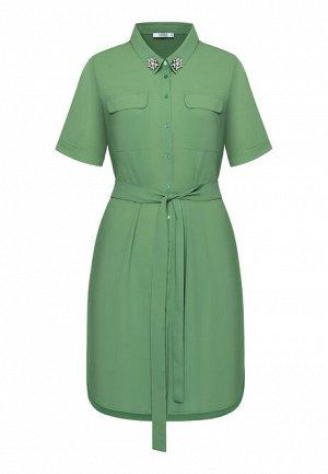 Платье с декором из стразов, цвет зелёный
