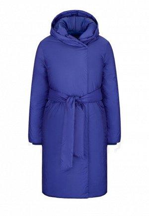 Утепленное пальто с поясом, цвет синий