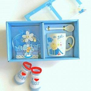 Подарочный набор из кружки, ложки и корзинки для мальчика, из фарфора