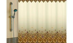 Штора для ванной комнаты, 180 х 180 см, с кольцами, полиэстер, бежевый, МОЗАИКА, 1/20
