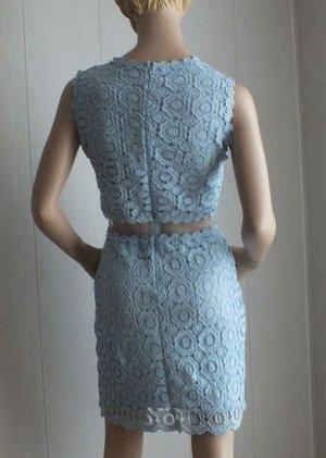 Платье Цвет голубой М:ОГ 86см,  длина 87см L: ОГ 92см,  длина 87см