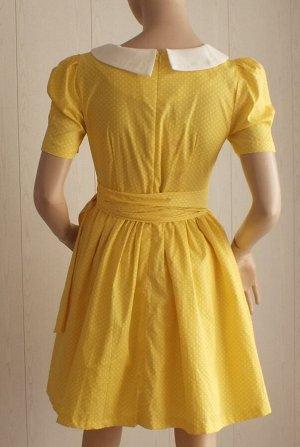 Платье Цвет: желтый в белый горошек 46: ОГ 90см, длина 84см, 48: ОГ 92см,  длина 85см