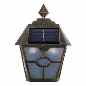 """Фонарь садовый на солнечной батарее """"Настенный ретро"""", 14х19х6 см, 1 led, пластик, медный"""