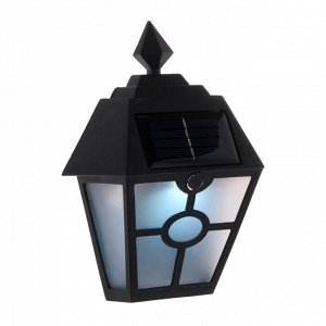 """Фонарь садовый на солнечной батарее """"Настенный"""", 14 х 19 х 6 см, 1 led, пластик, черный"""