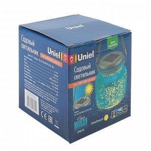 Садовый светильник на солнечной батарее Uniel, 11х11х11 см, IP44, синий корп., теплый белый