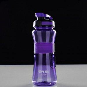 Бутылка для воды 700 мл, прозрачная, с резиновой вставкой, на браслете, микс, 7,5х23см