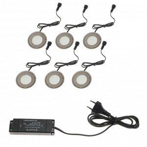 Набор сверхплоских врезных светильников 6 шт, IP66, 0.5 Вт/шт, 12 В, ЗЕЛЕНЫЕ, форма круг
