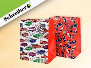Пакет подарочный бумажный МАШИНКИ  23х18х12 см, 2 дизайна микс, плотность бумаги 157 г