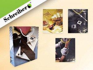 Пакет подарочный бумажный МУЖСКОЙ, 28х34*9 см, 4 дизайна в ассортименте